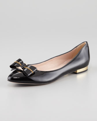 Tara Patent Leather Bow Flat, Black