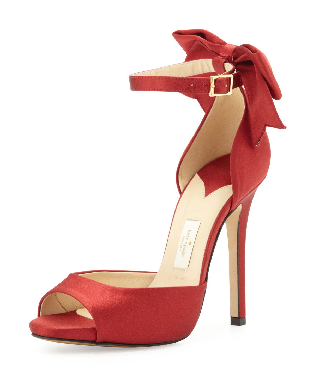 chrissie satin bow dorsay sandal, red   kate spade new york   Red (38.5B/8.5B)
