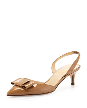 susi patent bow slingback pump, new camel