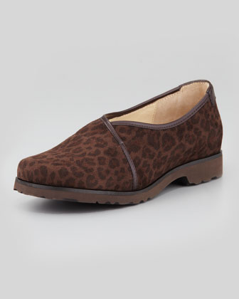 Jacob Leopard-Print Stretch Fabric Slip-On, Dark Brown