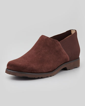 Jenelle Suede Stretch-Back Slip-On, Dark Brown