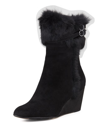 Kissy Fur-Trim Wedge Bootie, Black
