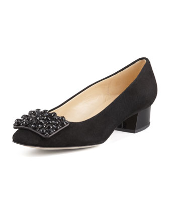 mixer suede jewel pump, black