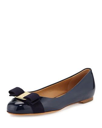 Varina Patent Bow Ballerina Flat, Oxford Blue