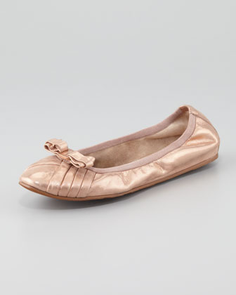 My Joyful Metallic Leather Ballerina Flat, Rose Gold