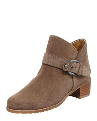 Dude Suede Buckled Bootie, Neutral
