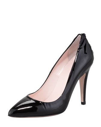 Patent Laced-Back Pump, Black