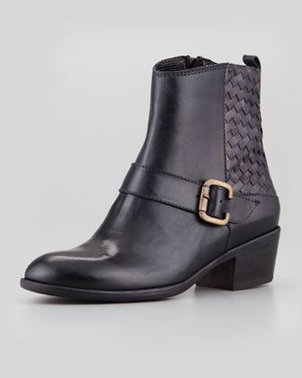 Marty Woven Leather Bootie, Black