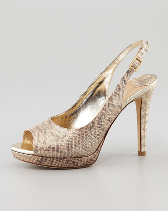 Allie Snake-Print Metallic Slingback, Gold
