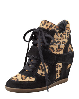 Bonno Leopard-Print Calf Hair Wedge Sneaker