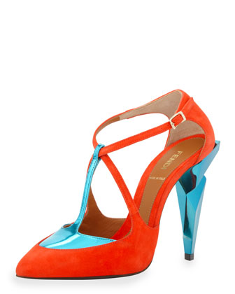 Suede T-Strap Diamond-Heel Pump, Red/Aqua