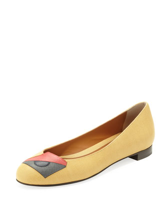 Eye Saffiano Ballerina Flat, Yellow