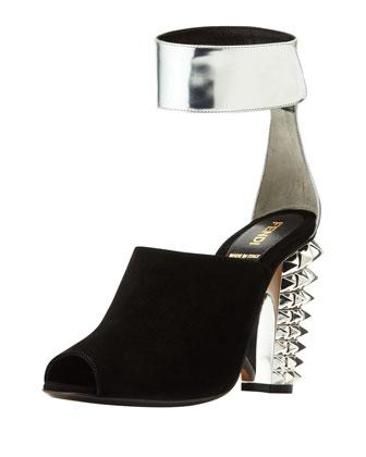 Stud-Heel Suede Ankle-Wrap Sandal, Black/Silver
