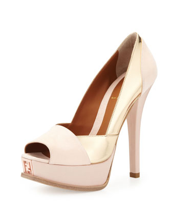 Suede & Metallic Leather Pump, Rose/Gold