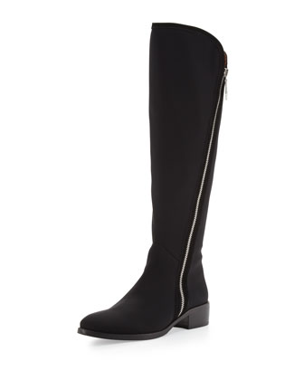 Nova Elastic Crepe Knee Boot, Black