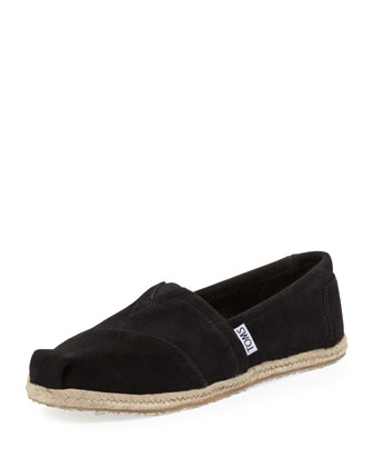 Suede Espadrille Slip-On, Black
