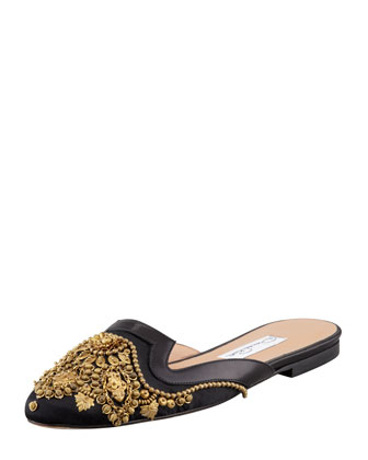 Spanish Sequin-Embellished Satin Mule, Black
