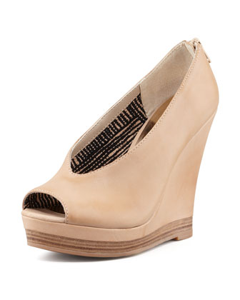 Storytelling Peep-Toe Leather Wedge, Vachetta