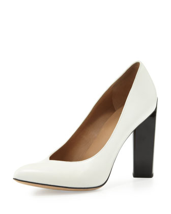 Calfskin Point-Toe Pump, Off White/Black