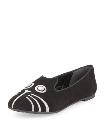 Rue Cat-Face Smoking Slipper, Black