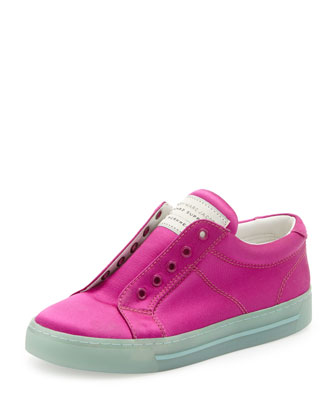 Satin Logo Laceless Sneaker, Hot Fuchsia