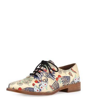 Garden-Print Leather Oxford