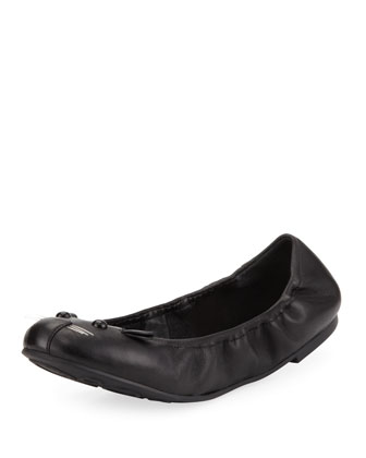 Leather Mouse Scrunch Flat, Black