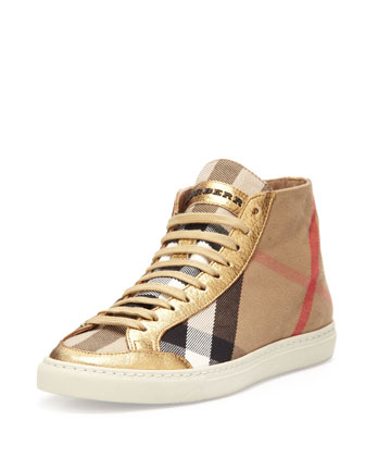 Leather-Trim Check Hi-Top Sneaker