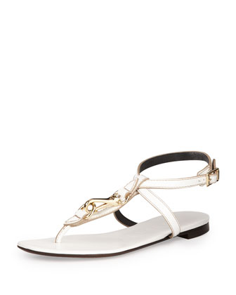 Buckle-Strap Leather Sandal, White