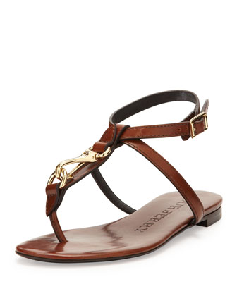 Buckle-Strap Leather Sandal, Tan