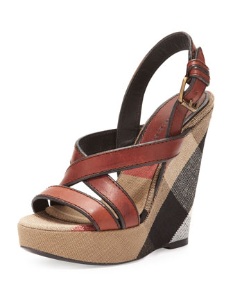 Crisscross Check-Wedge Sandal