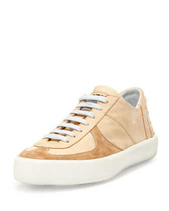 Logo-Back Lace-Up Sneaker, Sand