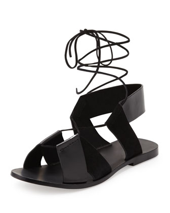 Marlene Lace-Up Flat Sandal