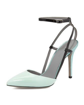 Jodie Calfskin Ankle-Wrap Pump, Peppermint