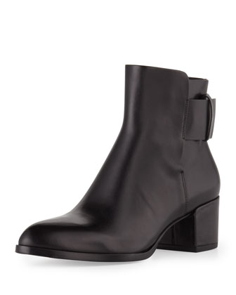 Anja Buckled Leather Bootie, Black