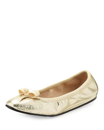 My Joy Metallic Ballerina Flat, Butter/Platino