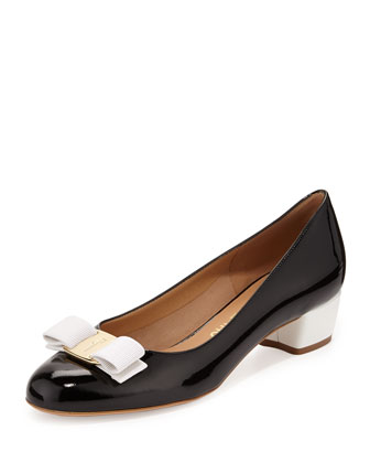 Vara Icona Patent Bow Pump, Nero/White