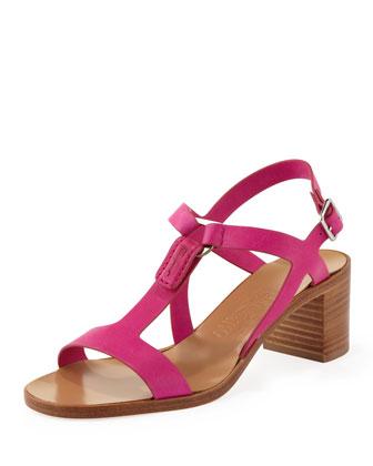 Peria Mid-Heel Sandal, Agata Rose Pink