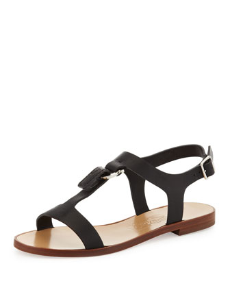 Pana T-Strap Flat Sandal, Black