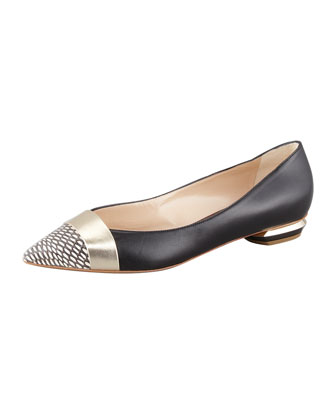 Pointy Snake-Toe Flat, Black/Gold
