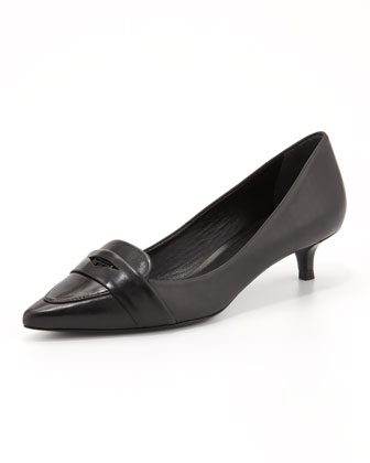 Bronson Kitten Heel Loafer Pump, Black