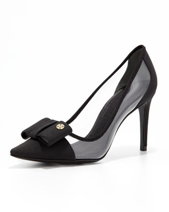 Aimee Point-Toe Bow Pump, Black