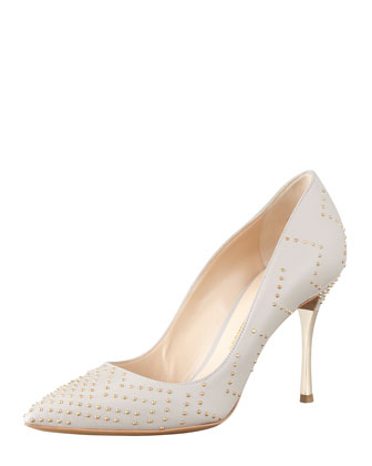 Studded Point-Toe Metal-Heel Pump, Gray