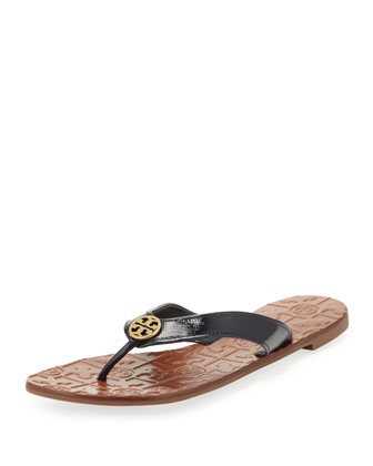 Thora 2 Patent Thong Sandal, Bright Navy