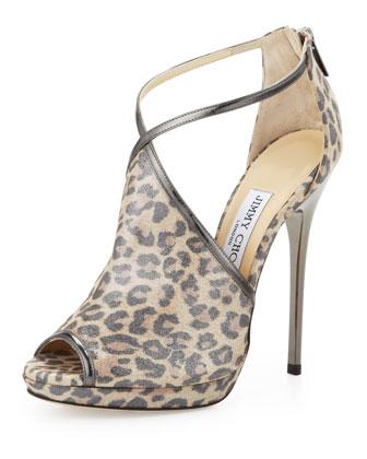 Fey Peep-Toe Leopard-Print Sandal, Anthracite