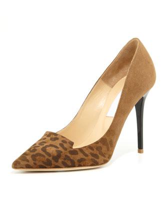 Alia Leopard-Toe Suede Pump