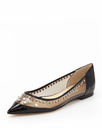 Cubata Studded Point-Toe Flat, Black