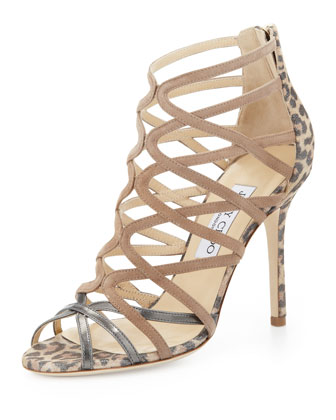 Fiesta Leopard-Print Caged Sandal, Nude