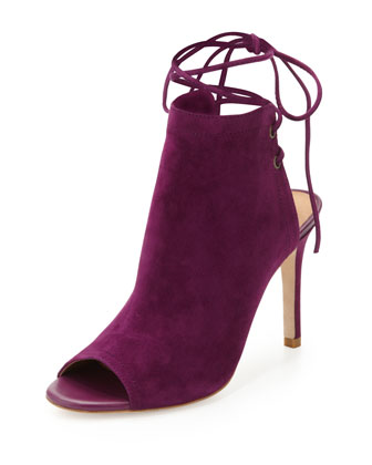 Lexington Suede Ankle-Tie Bootie, Plum