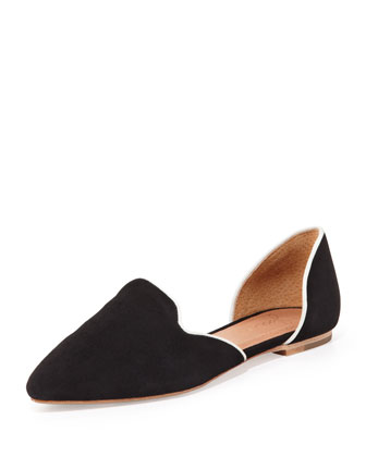 Florence Suede d'Orsay Flat, Black/White